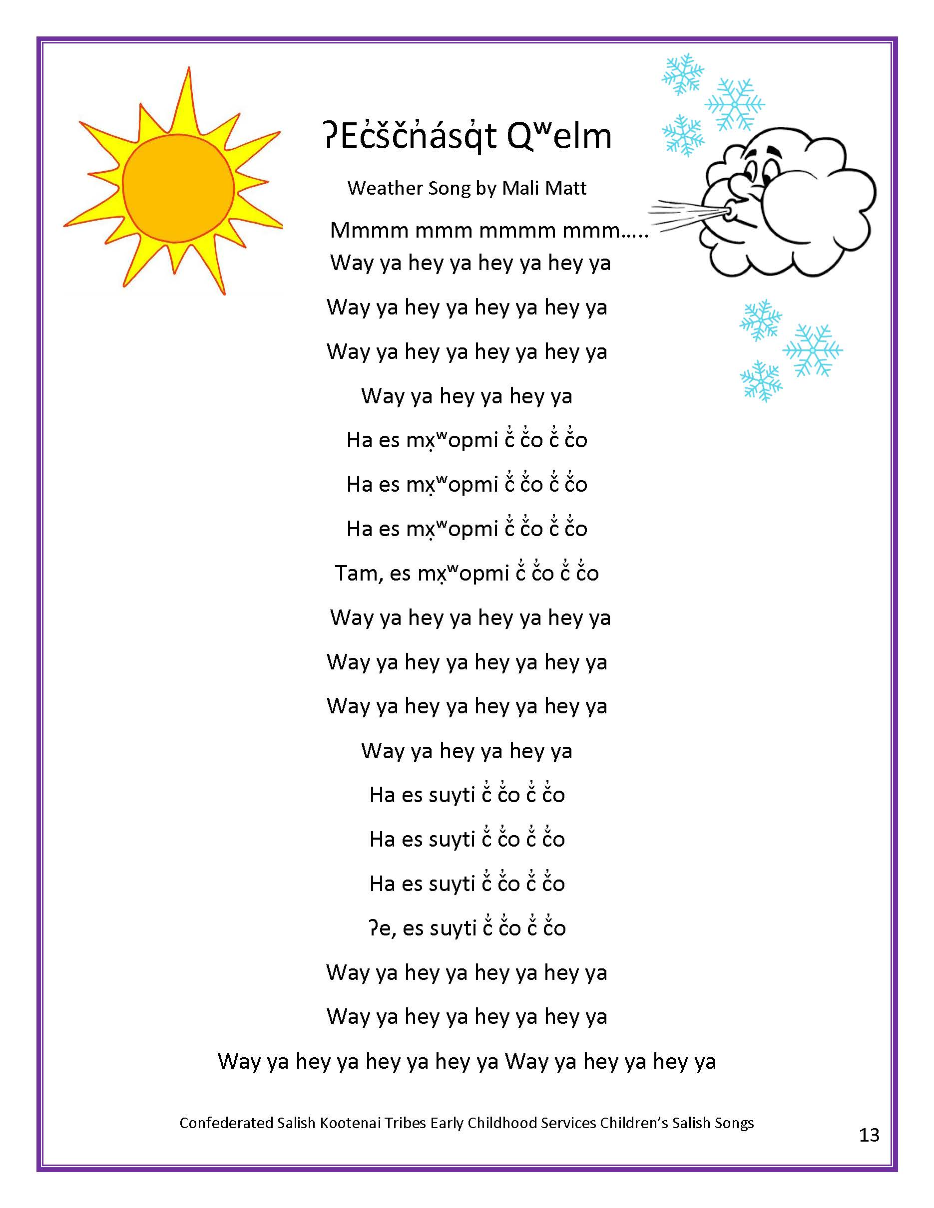 ECS Childrens Salish Song Book Page 18
