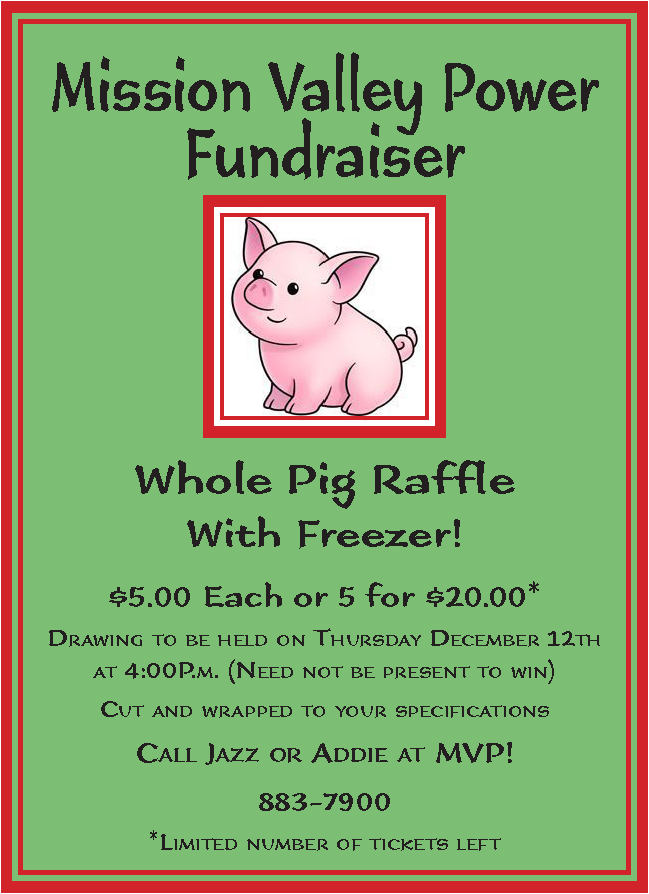 Pig Raffle Sale Poster 2019