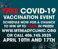 Qualify for $1,000 drawing by signing up for a COVID Vaccine April 10 and 17